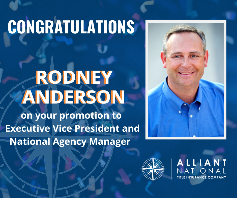 Press Release re: Rodney Andeson's promotion to Executive Vice President and National Agency Manager