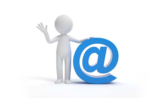 A man standing with a email symbol.