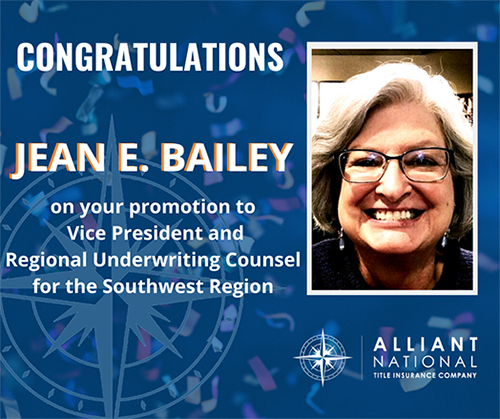 Congratulations to Jean E. Baily on her promotion