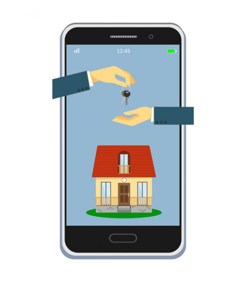 Real estate online sale concept. Mobile app template. Sale and purchase of real estate through a mobile application. Vector illustration
