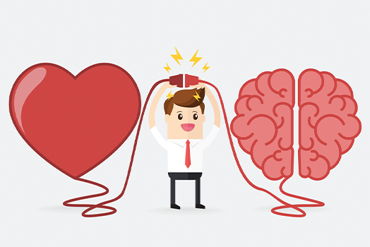 graphic of business man connecting a heart and a brain with an electric outlets