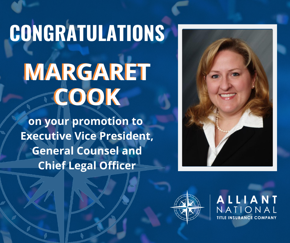 Congratulations graphic to Margaret Cook on her promotion to Executive Vice President, General Counsel and Chief Legal Officer