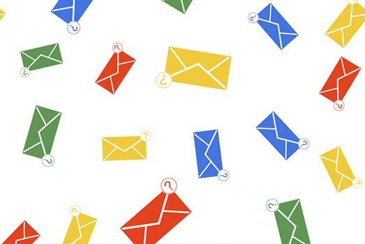 Graphic of falling yellow, blue, green and red envelopes with question marks.