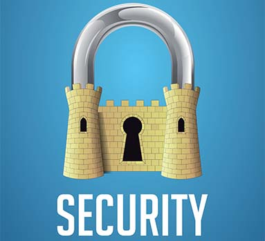 Blue background. A padlock with a castle as the body and the word security in white letters beneath it.