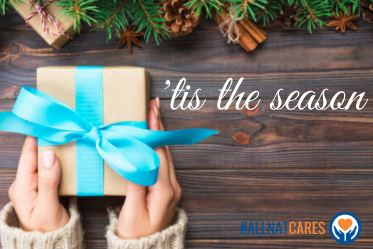 "Picture with christmas bough garland as top border, distressed brown wood slat background, hands giving a simply wrapped present with light blue bow, the words ""'tis the season"" in white and the #ALLNATCARES hashtag and logo"
