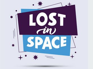 Lost in space quote stylized lettering on abstract form in blue and purple.