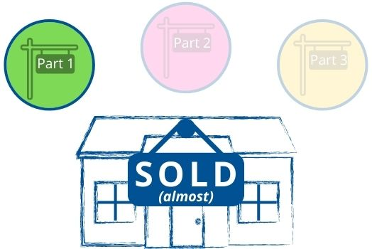 "White background graphic with blue-lined house bearing a sign that read's ""SOLD(almost)"". Above the house are 3 circles. The left circle is bright green with a sign that reads part 1. The middle circle is faded pink with a sign that reads part 2. The right circle is faded yellow with a sign that reads part 3."
