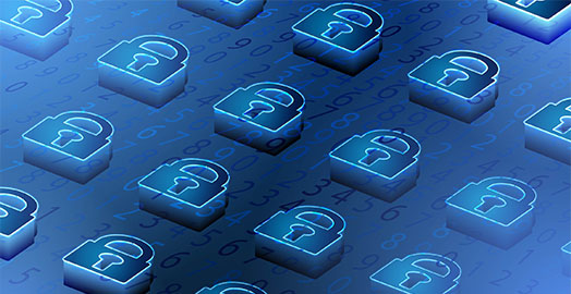 Blue binary code background with isometric padlocks in foreground.